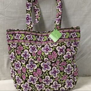 Retired Vera Bradley Three Pocket Plum Petals Tote